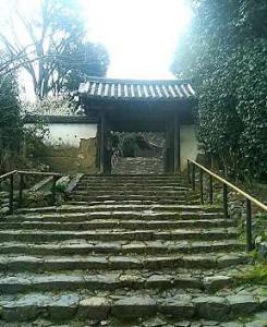 写真 急な階段の先にある白毫寺の山門