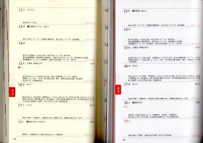 宮帯出版社の京ごよみ手帳2018と2019の8月16日の週の写真