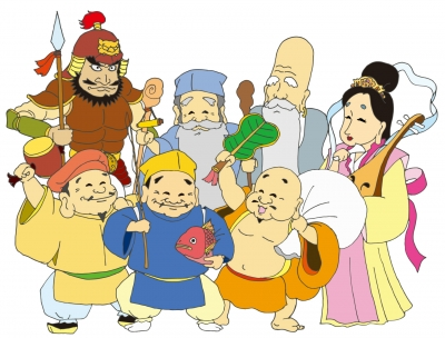 前列左から大黒天、ゑびす、布袋、後列左から毘沙門天、福禄寿、寿老人、弁天