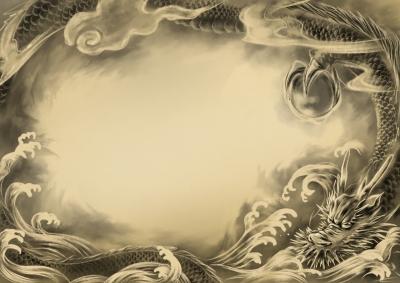 雲と波を纏って飛ぶ龍の絵