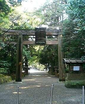 木に囲まれた石上神宮の鳥居の写真