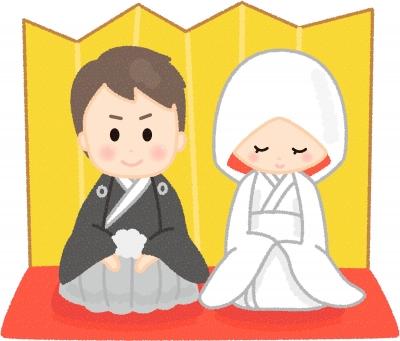 黒紋付の男性と白無垢の女性が金屏風の前で並んで座っているイラスト